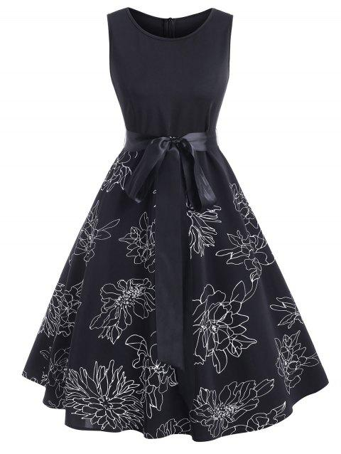 Floral Print Belted A Line Sleeveless Dress