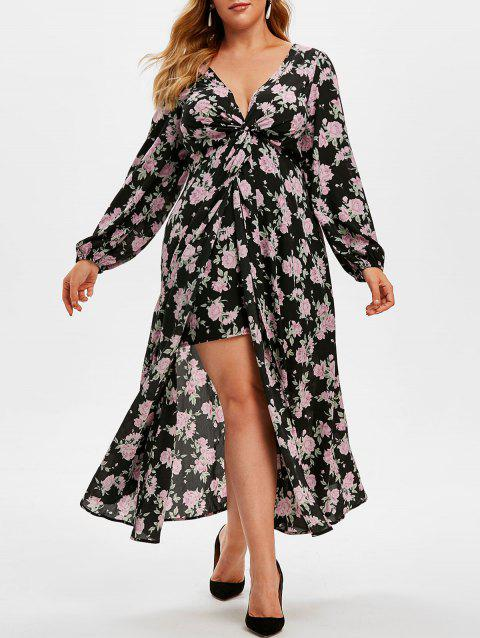 Plus Size Plunge Floral Print High Low Midi Dress