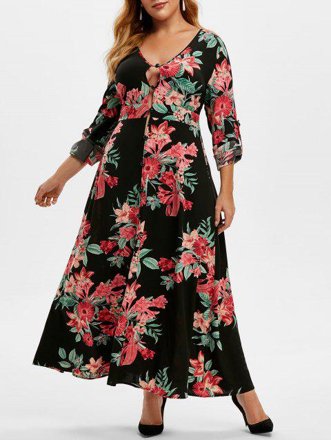 Plus Size Roll Up Sleeve Floral Print Maxi Dress
