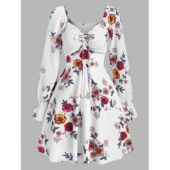 Floral Print Poet Sleeve Mini A Line Dress