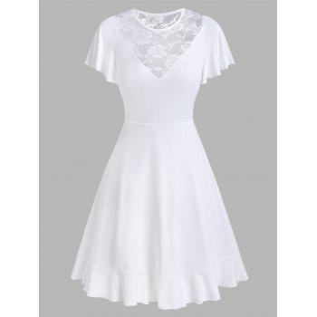 Flower Lace Insert Short Sleeve Flare Dress