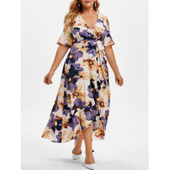 Plus Size Floral Print Ruffled High Low Maxi Dress