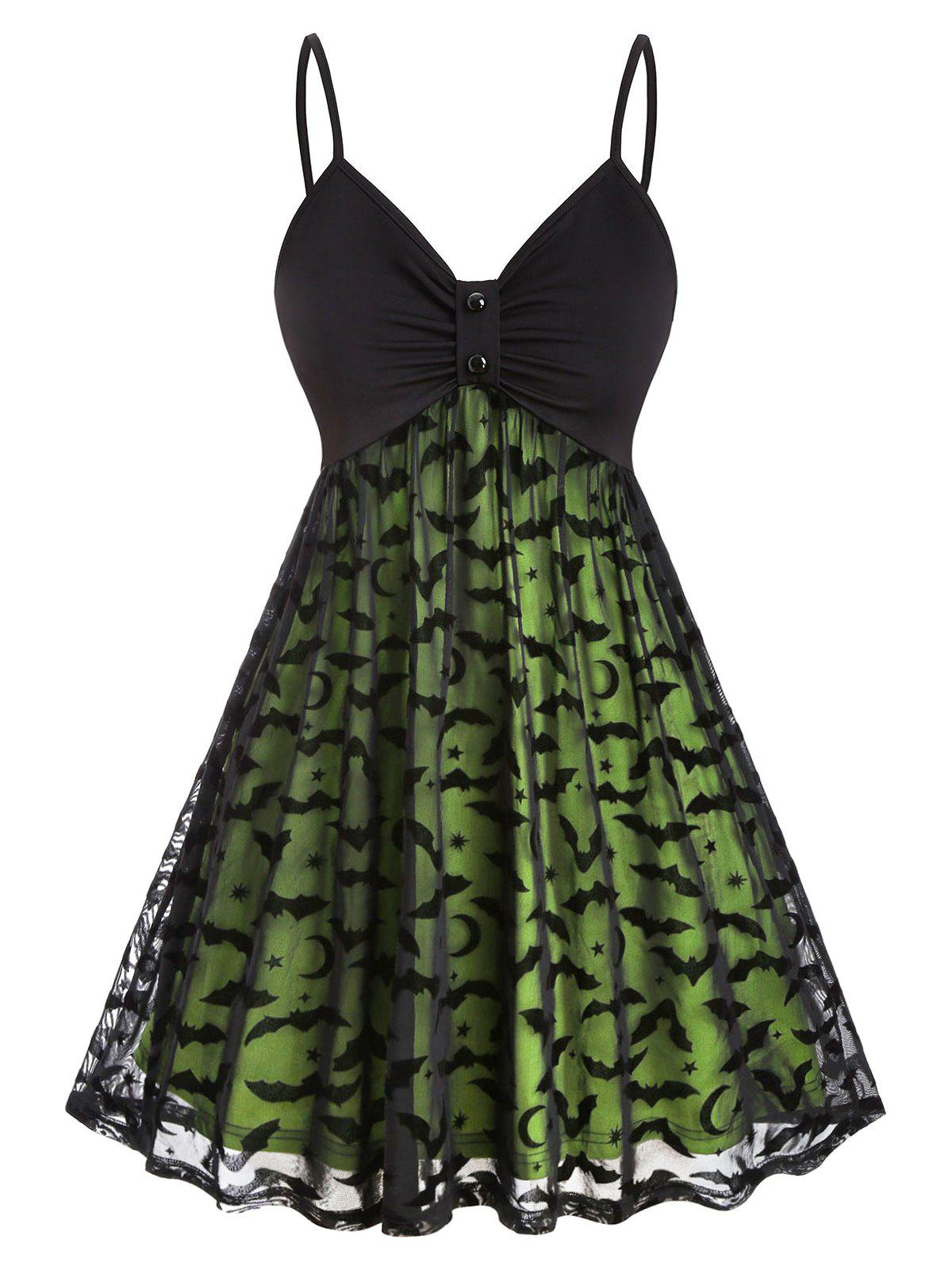 Plus Size Halloween Bat Mesh Insert Neon Dress - GREEN 1X
