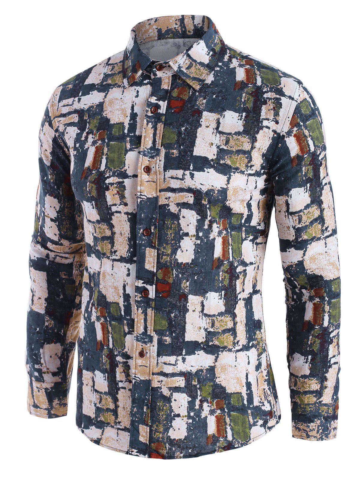 Wall Pattern Block Button Up Casual Shirt - multicolor S