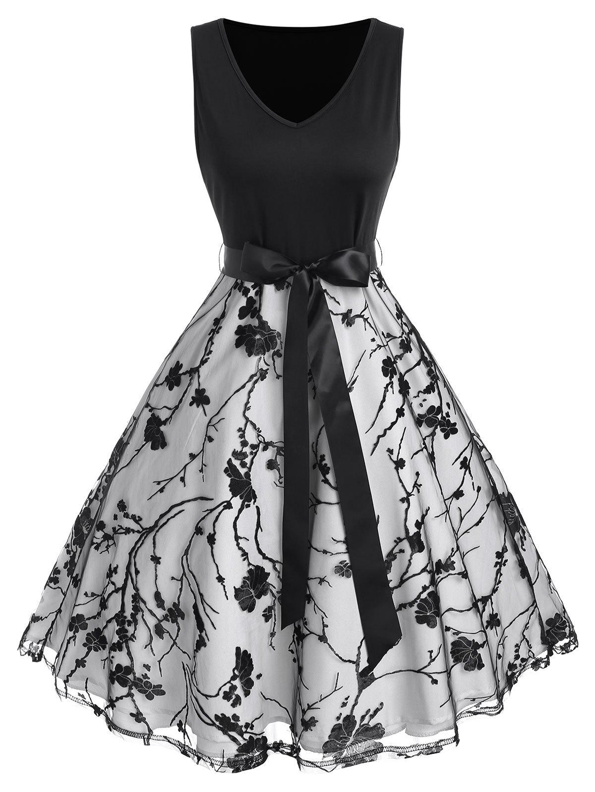 Floral Mesh Ribbon Bowknot A Line Dress - BLACK XL
