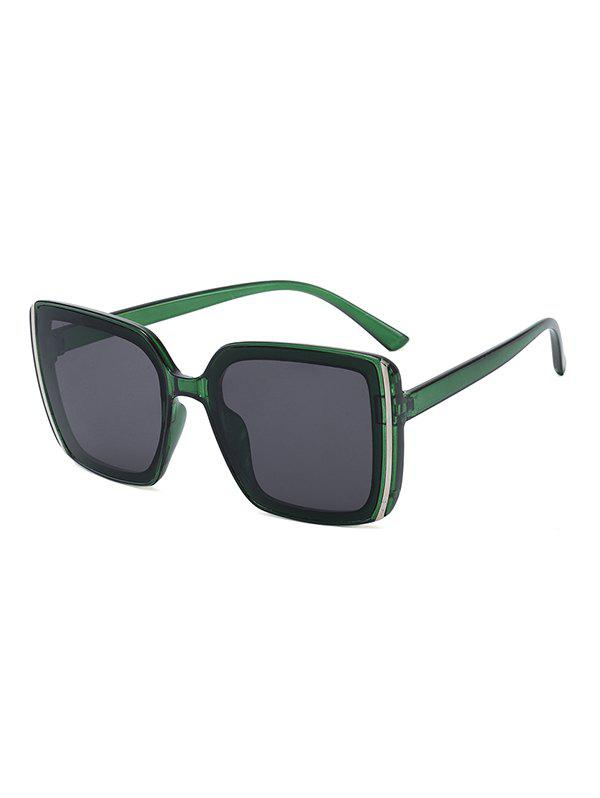 Stripe Pattern Square Oversized Sunglasses - SEAWEED GREEN