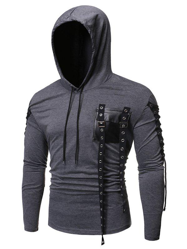 Lace-up Buckle Strap Pocket Hoodie - CARBON GRAY L