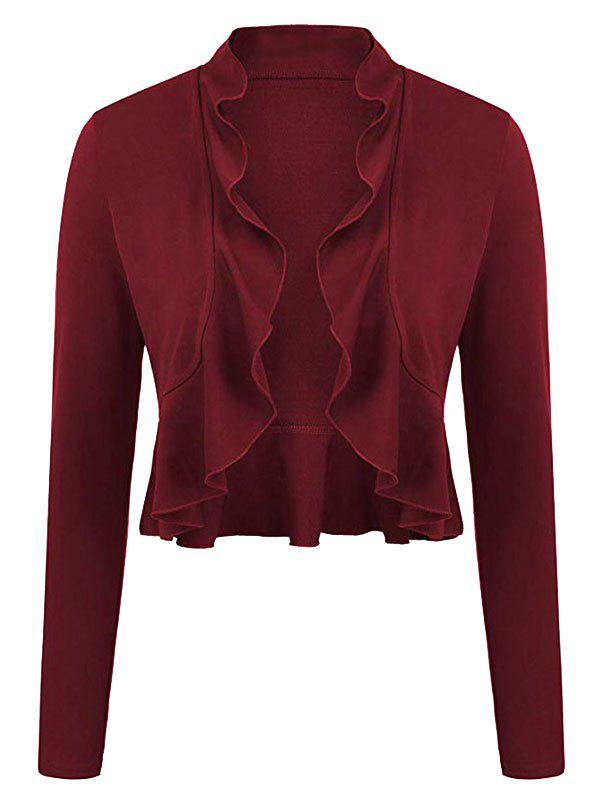 Plus Size Ruffles Bolero Jacket - DEEP RED 5X
