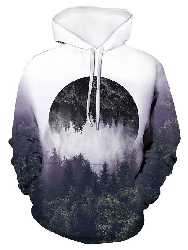 Forest Reflective Pattern Front Pocket Pullover Hoodie - multicolor M