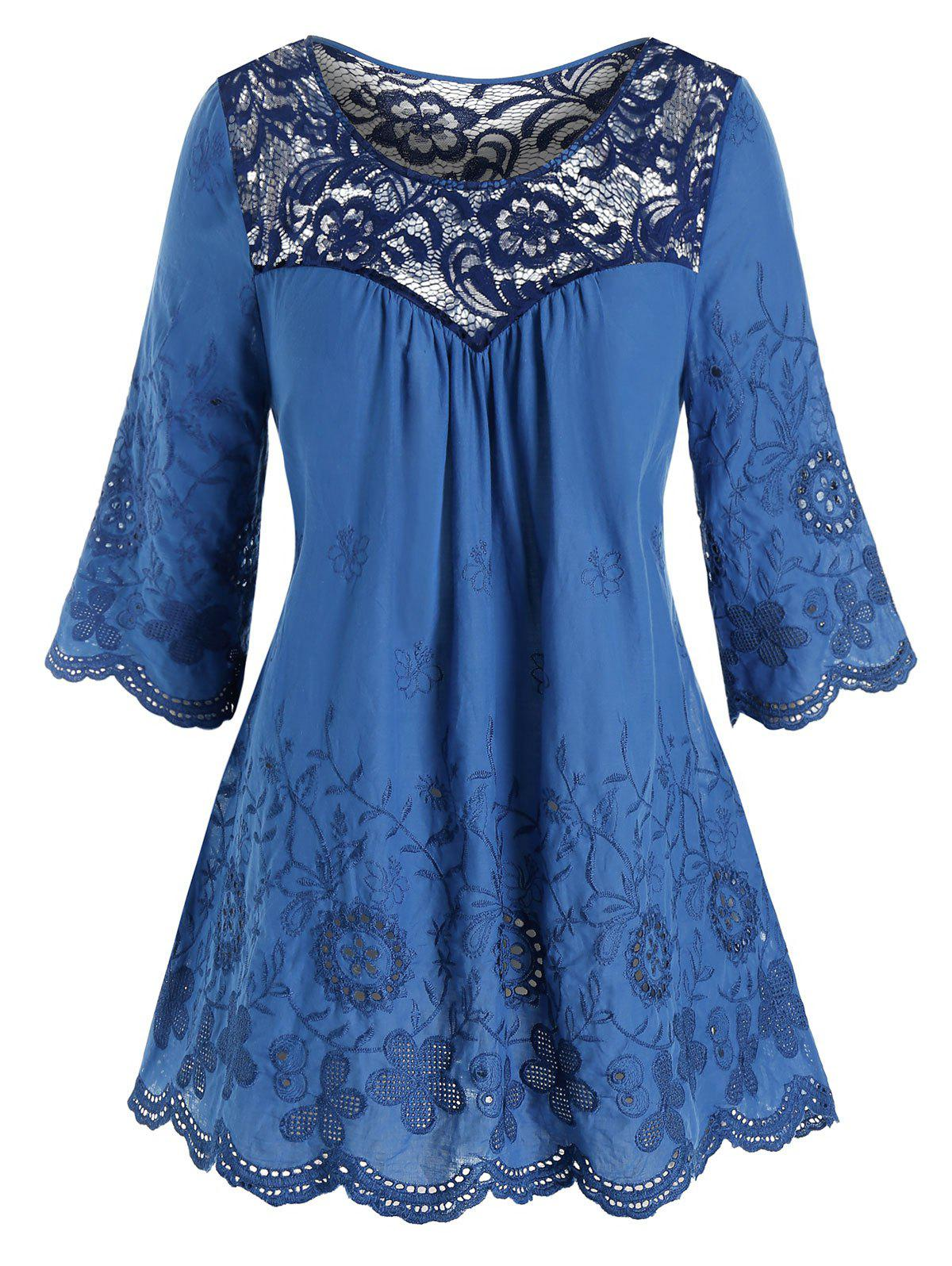 Plus Size Lace Yoke Sheer Embroidered Eyelet Top - MIDNIGHT BLUE 5X