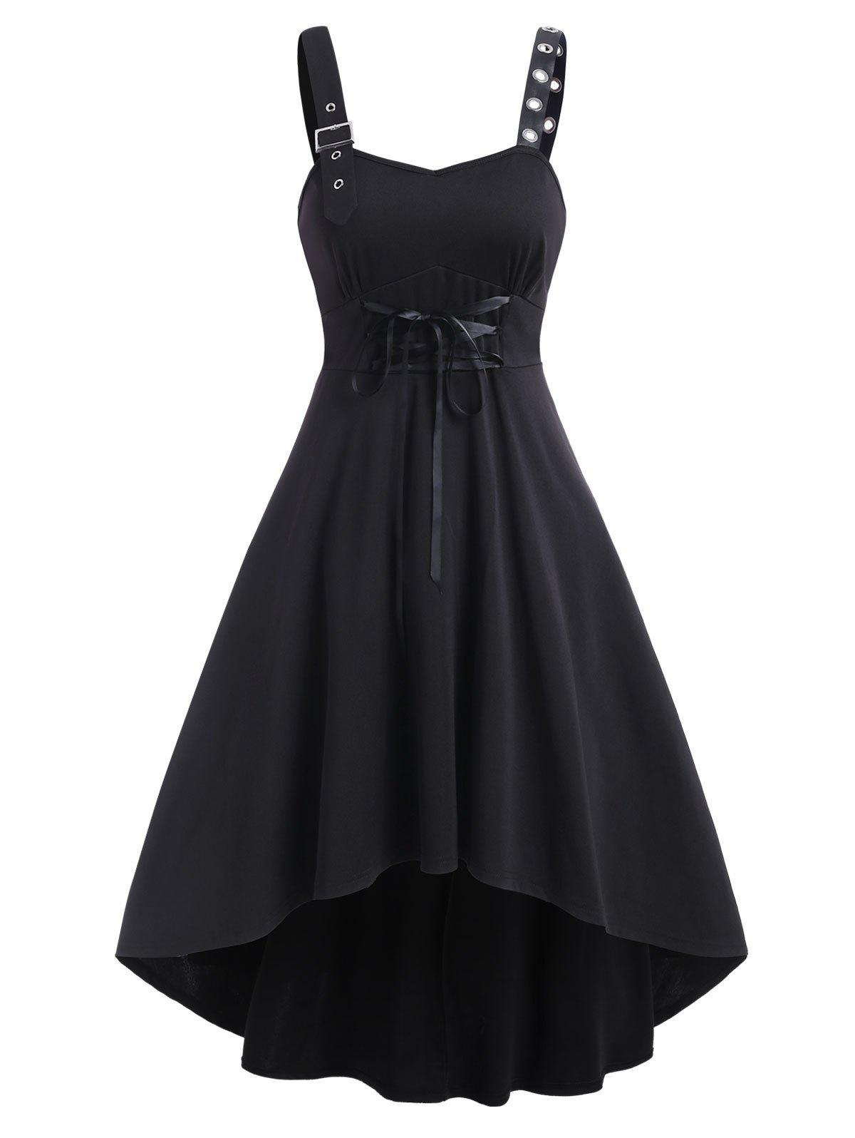 Sleeveless Lace-up Buckle Strap High Low Gothic Dress - BLACK M