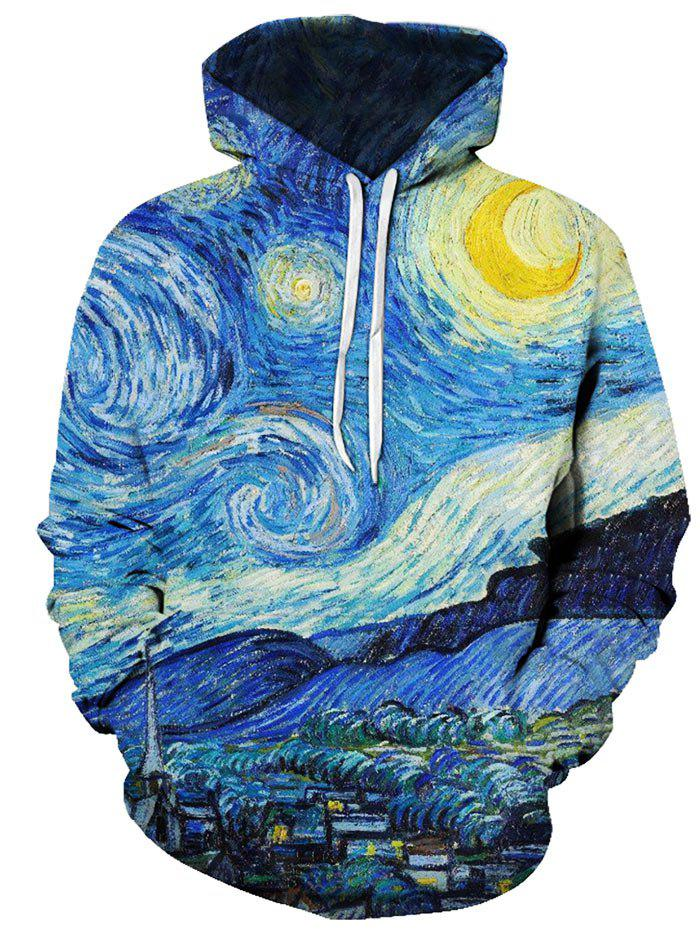 Oil Paint Starry Night Pattern Front Pocket Casual Hoodie - multicolor L