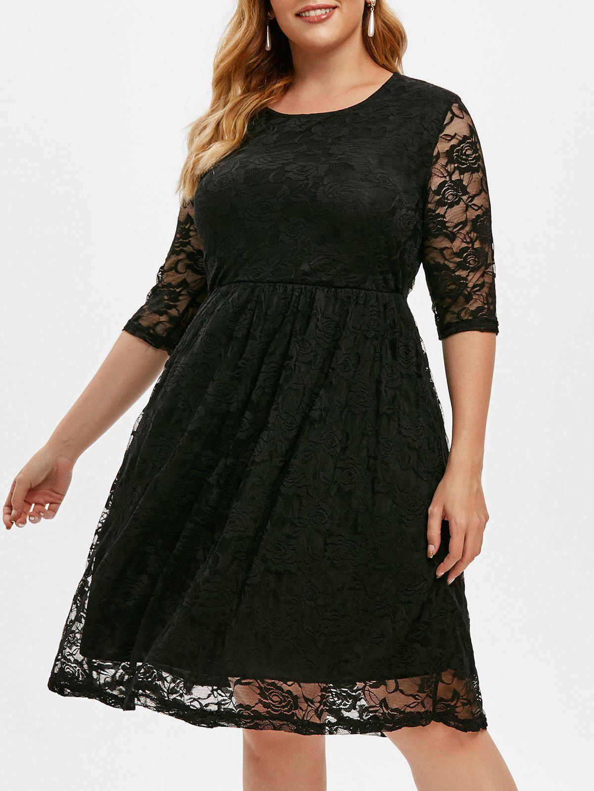 Lined Lace A Line Plus Size Dress - BLACK XL
