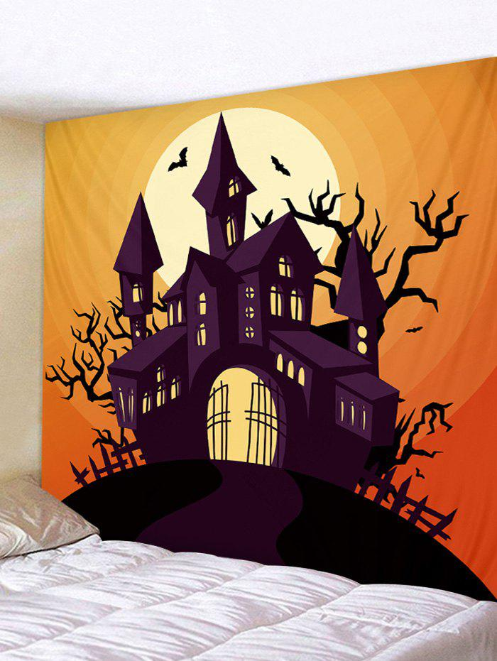 Halloween Castle Moon Pattern Decorative Wall Hanging Tapestry - multicolor W91 X L71 INCH