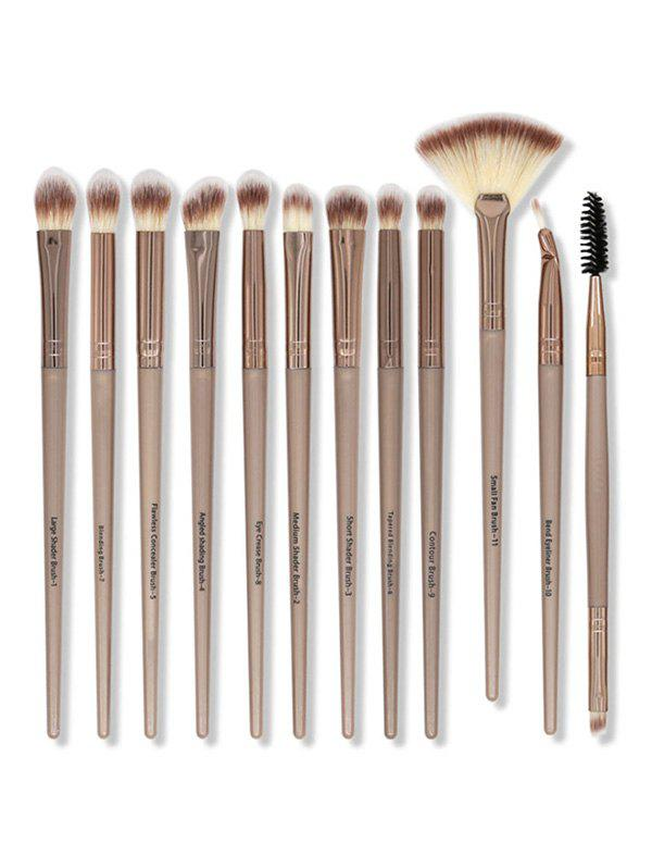 12Pcs Portable Nylon Hair Eye Makeup Brushes Set - BROWN