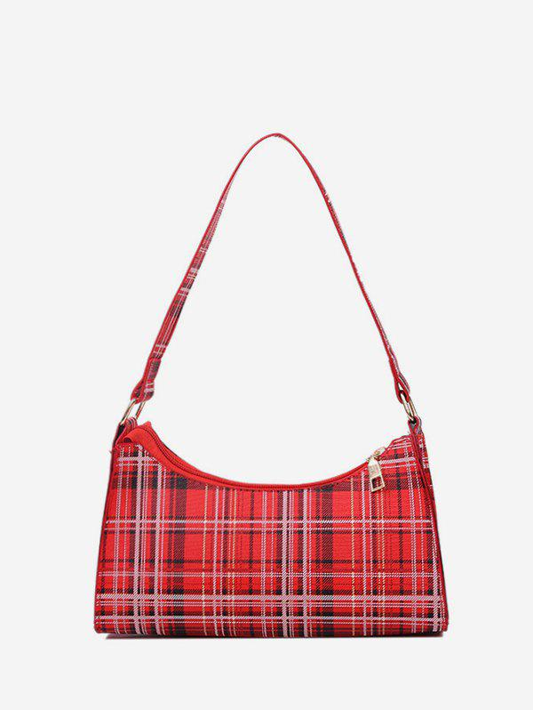 Plaid Pattern Rectangle PU Shoulder Bag - RED