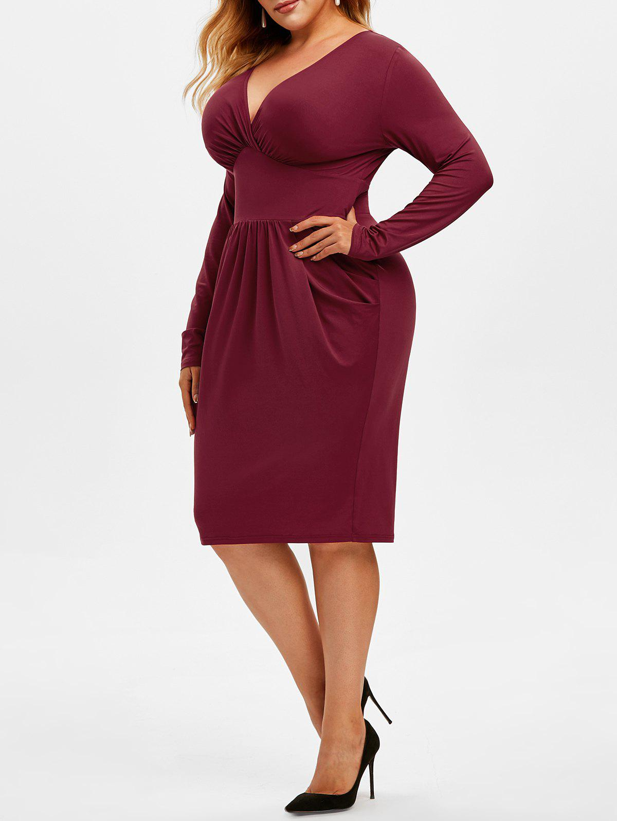 Plus Size Plunging Surplice Long Sleeve Dress - RED WINE 5X