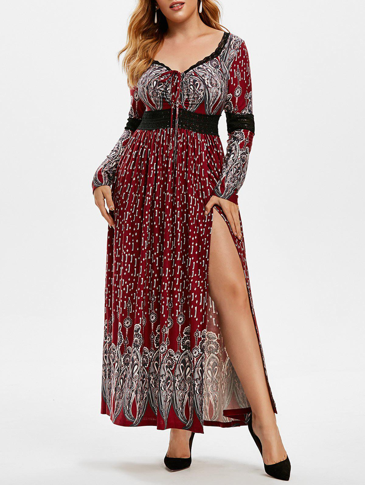 Plus Size Lace Panel Lace-up Empire Waist Dress - RED WINE 4X