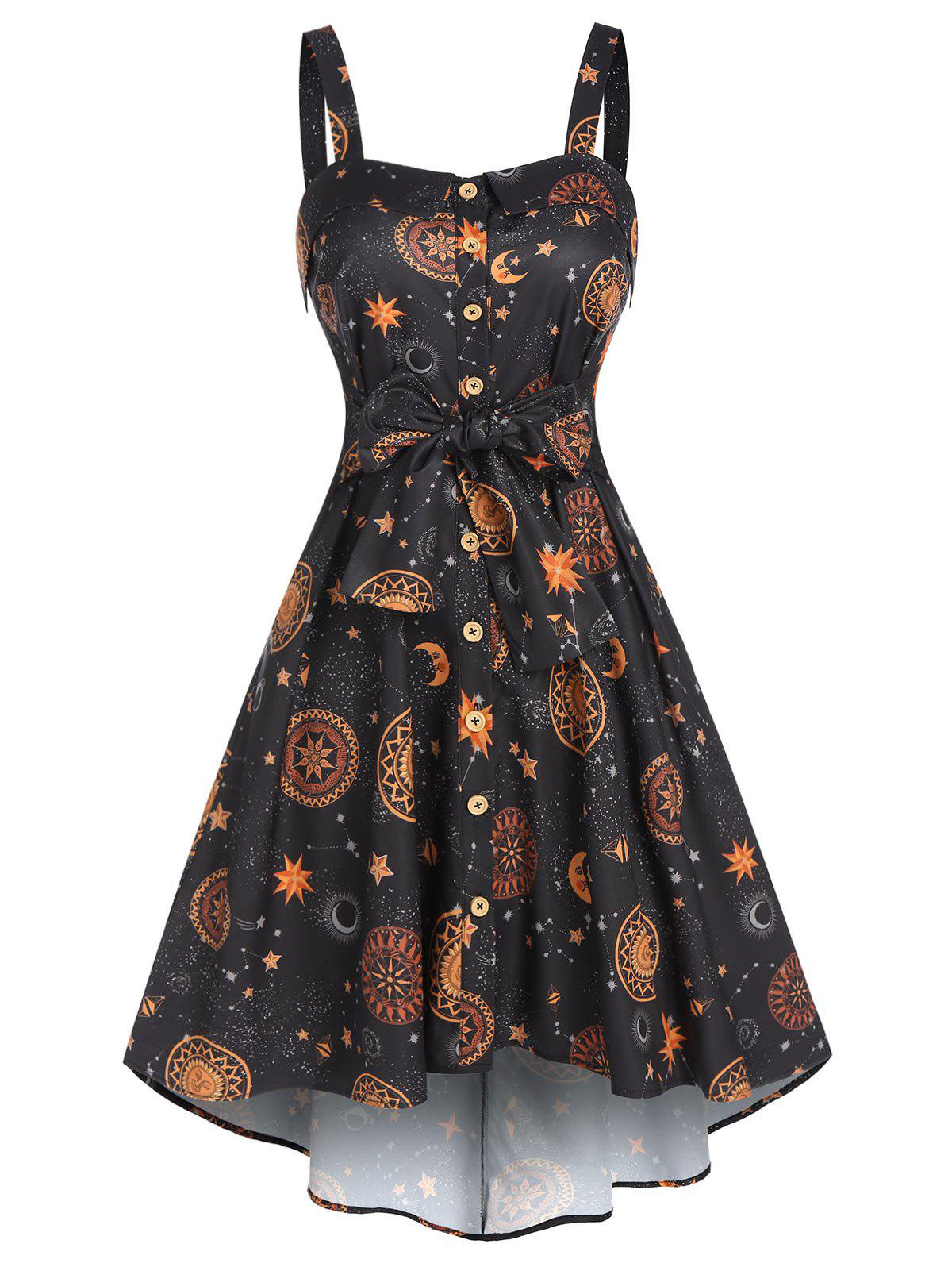 Sun Moon Star Print Pockets Cami High Low Dress - BLACK M