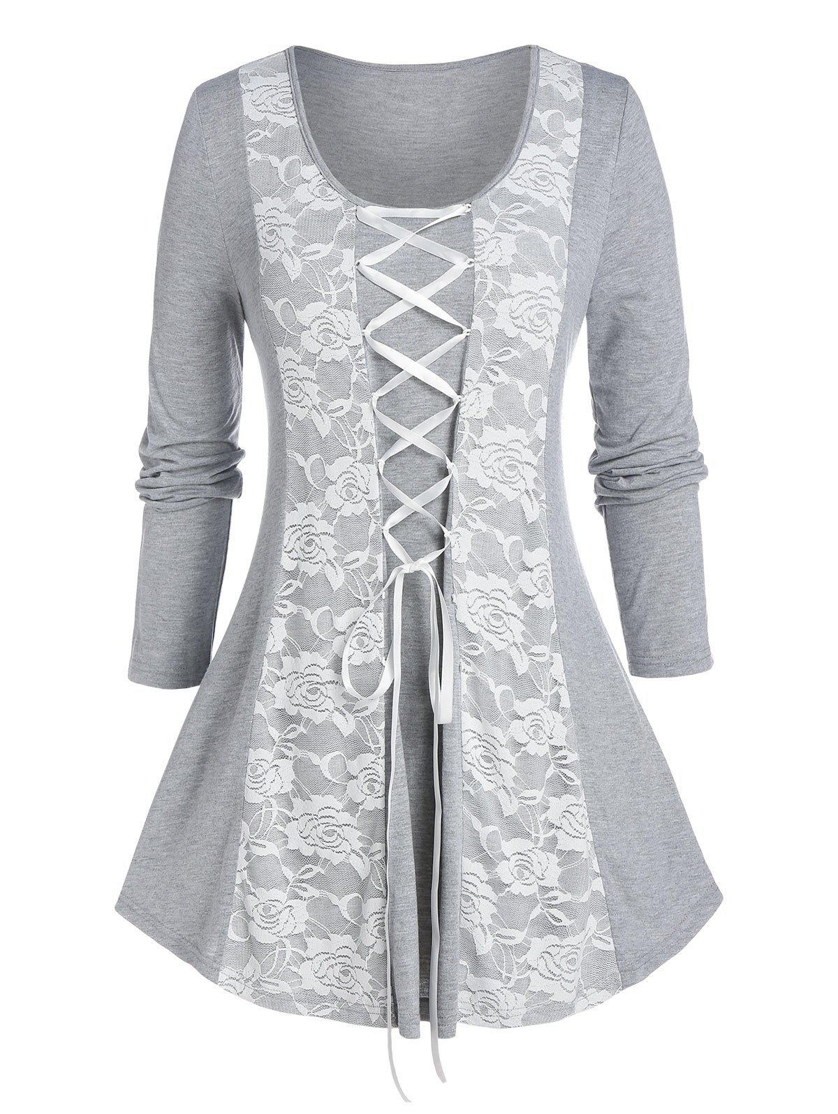 Plus Size Lace Insert Lace-up Long Sleeve Tee - GRAY CLOUD 4X