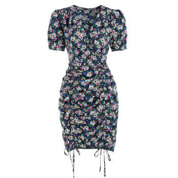 Ditsy Flower Print Drawstring Bodycon Dress
