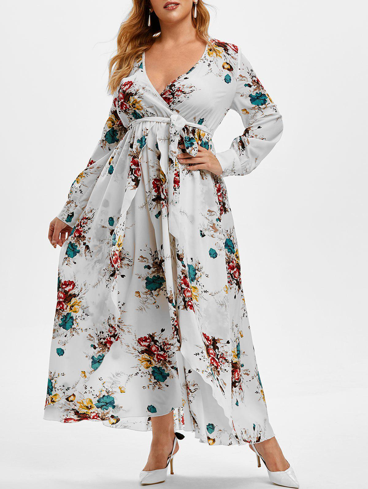 Plus Size Low Cut Floral Print Maxi Dress - WARM WHITE 5X