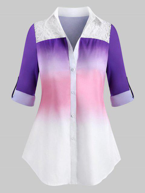 Plus Size Ombre Embroidery Longline Panel Roll Sleeve Shirt
