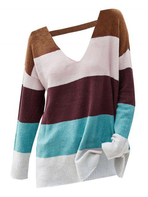 Color Blocking Cutout Drop Shoulder Sweater