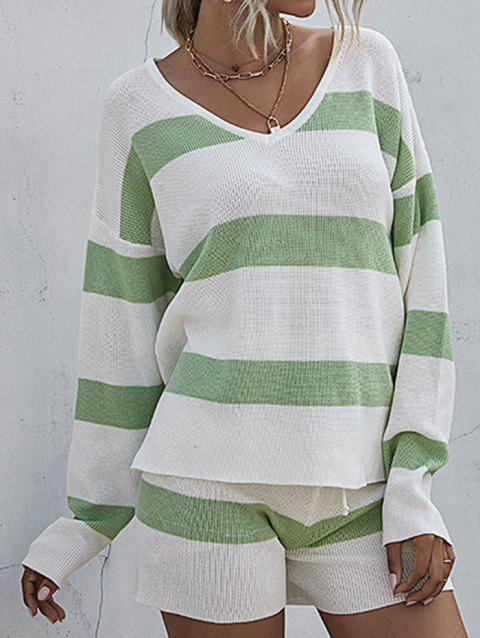 Lounge Striped Sweater Shorts Two Piece Set