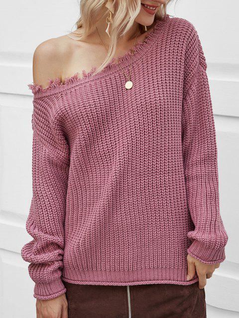 Chunky Skew Neck Distressed Sweater