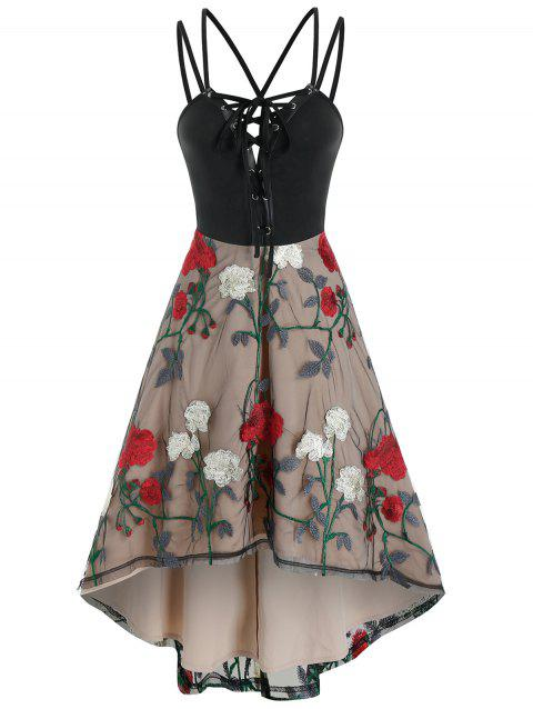 Lace Up Cami Floral Lace High Low Dress