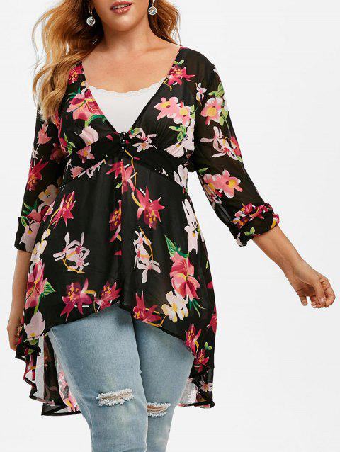 Plus Size Floral Print High Low Blouse and Tank Top Set