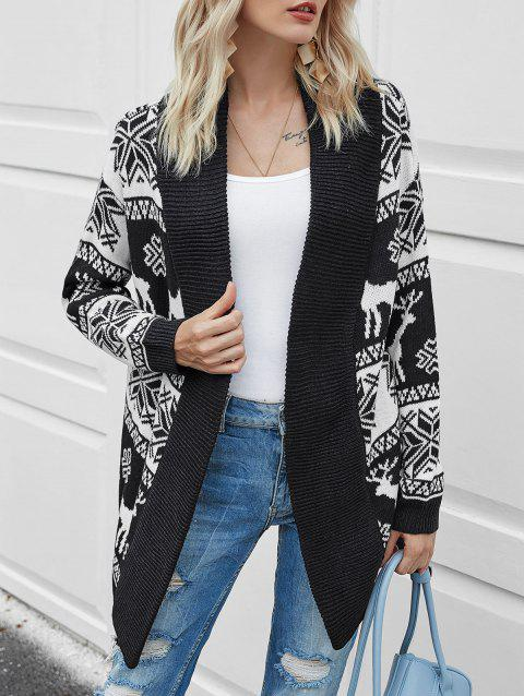 Christmas Elk Graphic Collarless Tunic Cardigan
