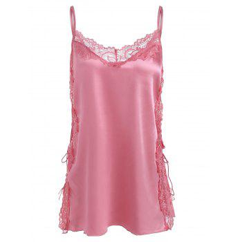 Plus Size Lace and Satin Side Lace-up Cami Set