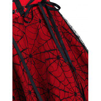 Halloween Spider Web Lace High Low Lace-up Skirt