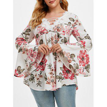 Plus Size Lace Insert Bell Sleeve Floral Print Top