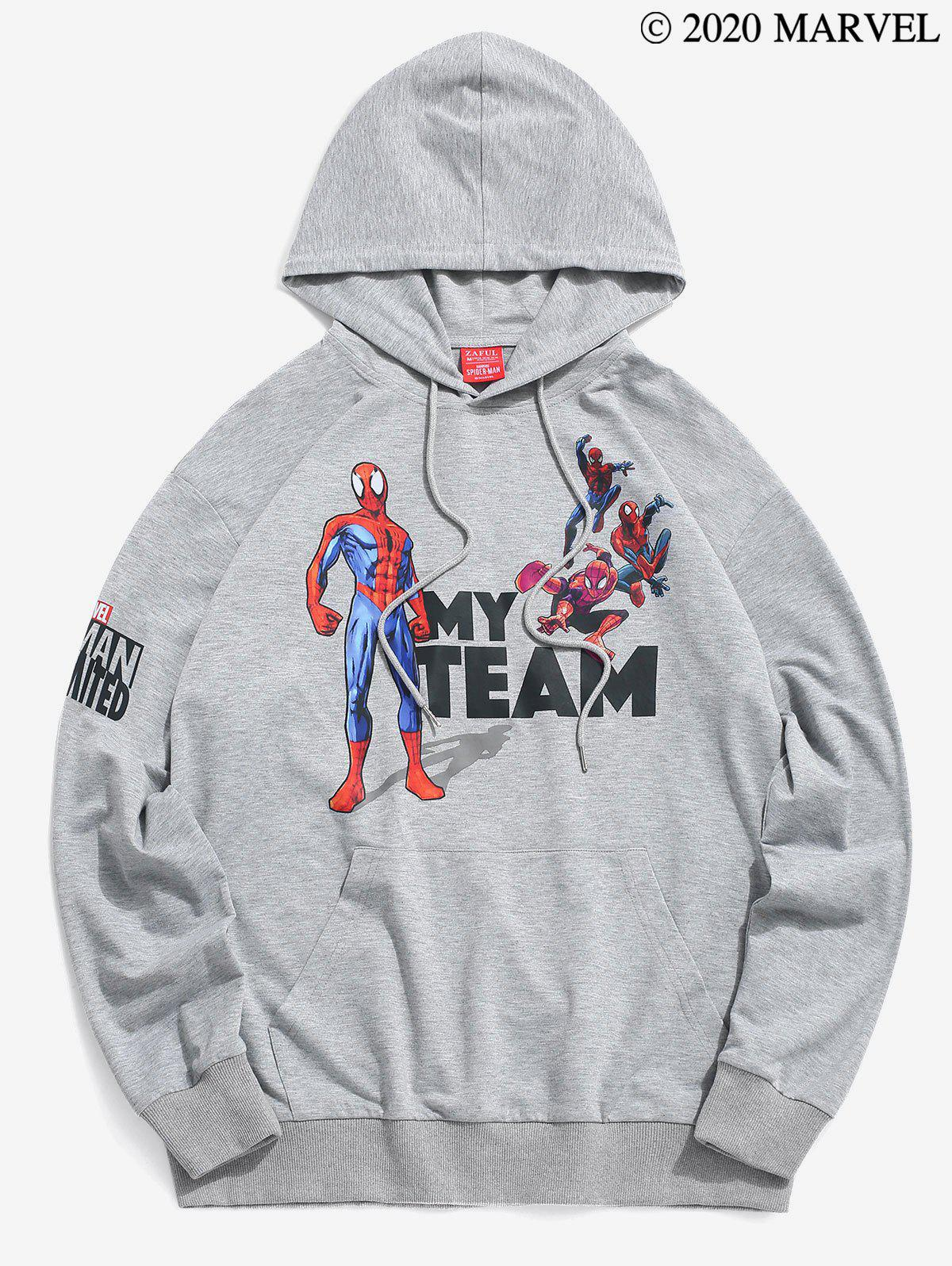 Marvel Spider-Man Pocket Drop Shoulder Hoodie - GRAY 2XL