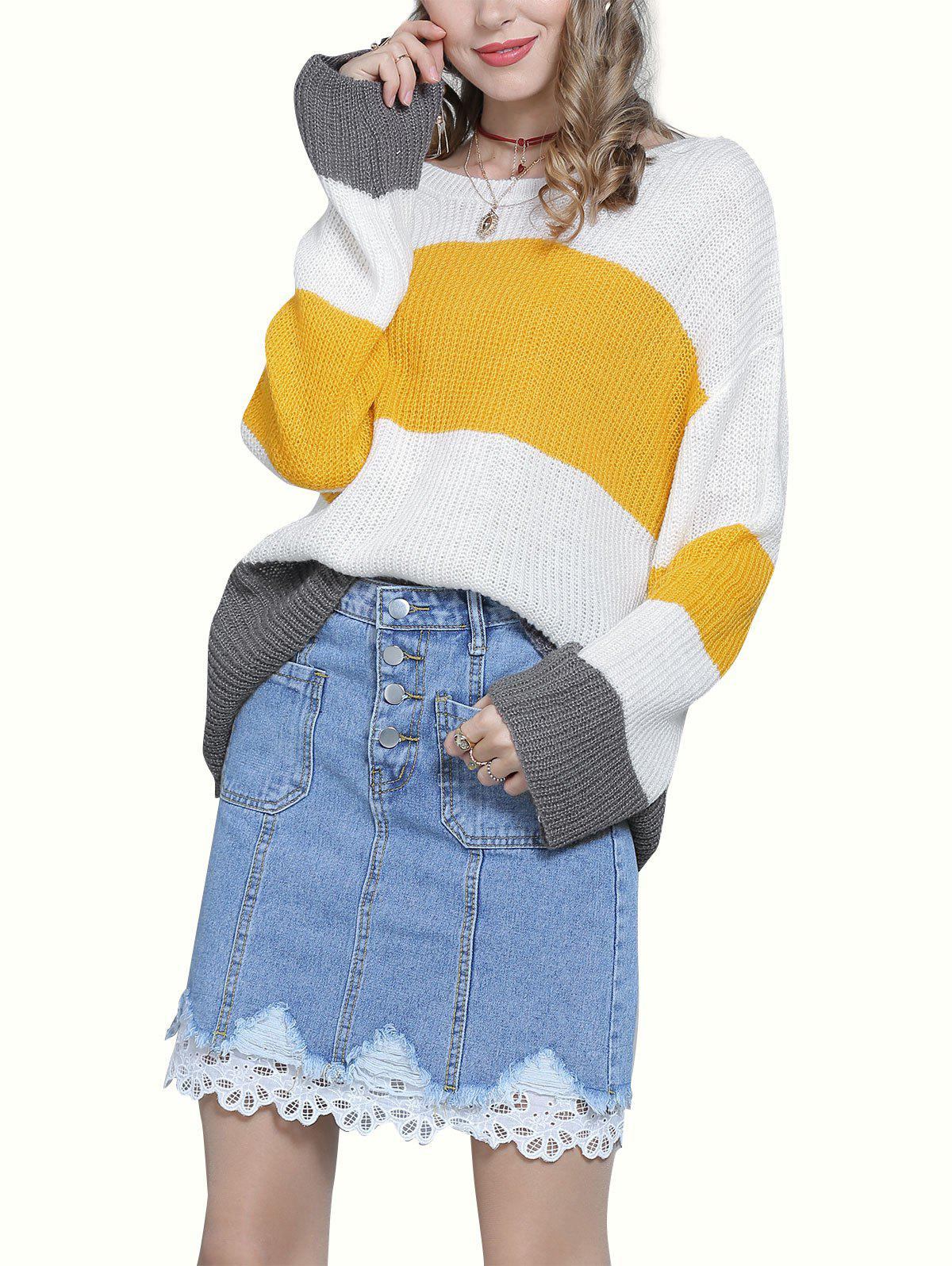 Contrast Colorblock Drop Shoulder Sweater - multicolor XL
