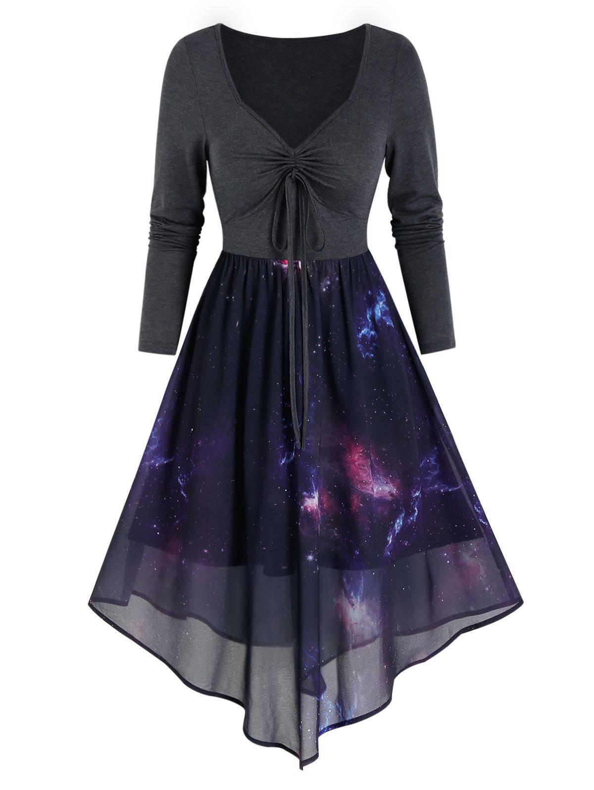 High Waist Starry Print Overlay Mesh Dress - BLACK XL