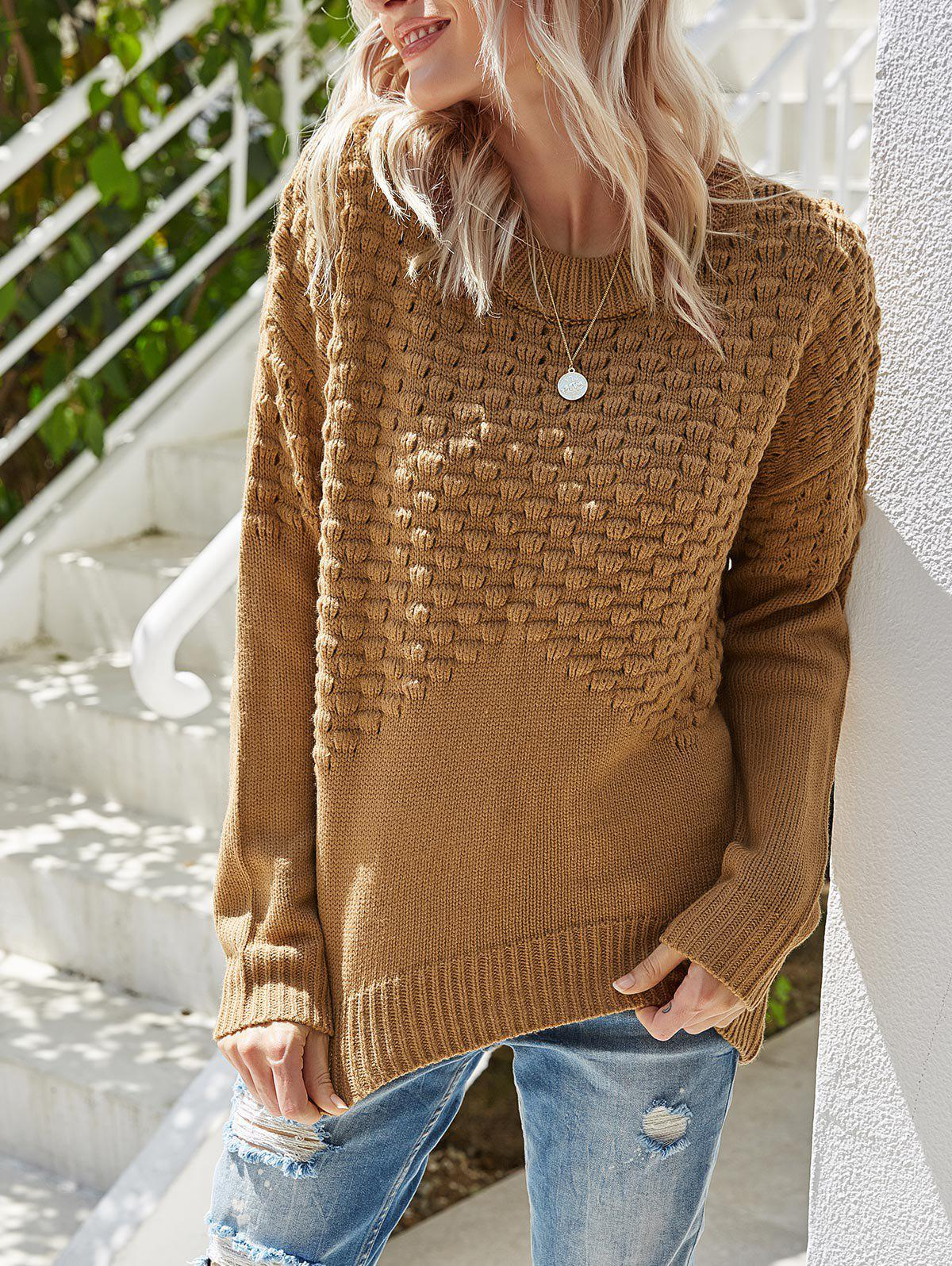 Textured Drop Shoulder High Low Tunic Sweater - COFFEE S