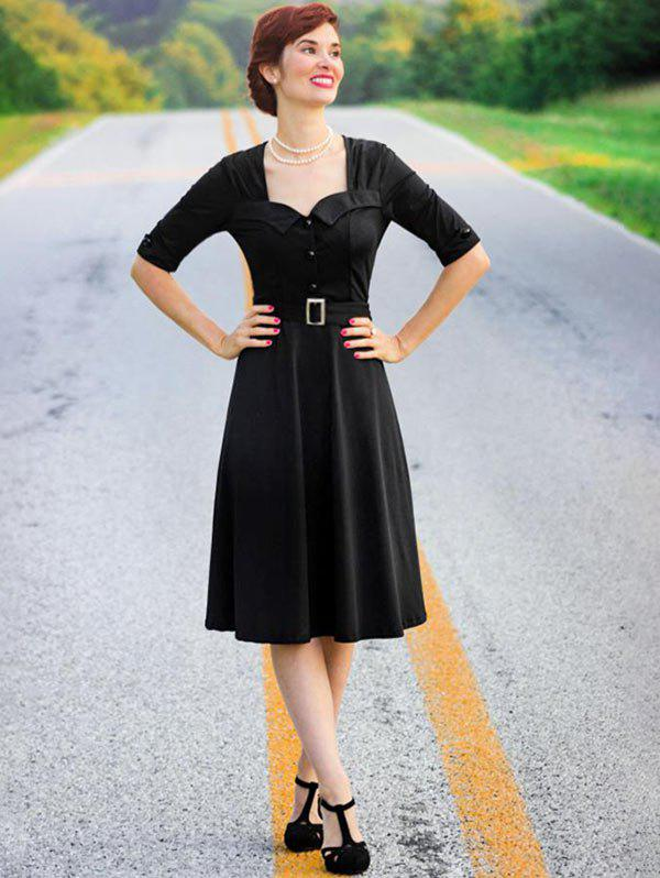 Vintage Half Button Belted Flare Dress - BLACK 3XL