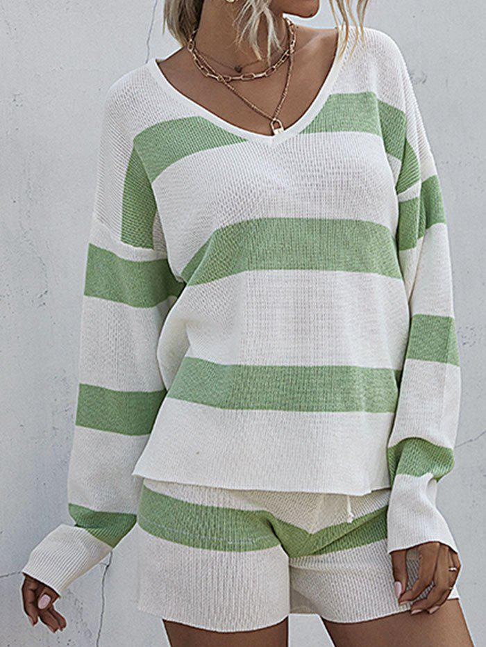 Lounge Striped Sweater Shorts Two Piece Set - LIGHT GREEN S