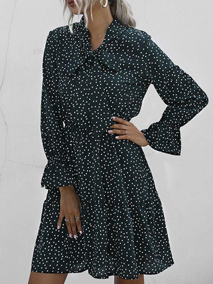 Pussy Bow Polka Dot Poet Sleeve Dress - DEEP GREEN L