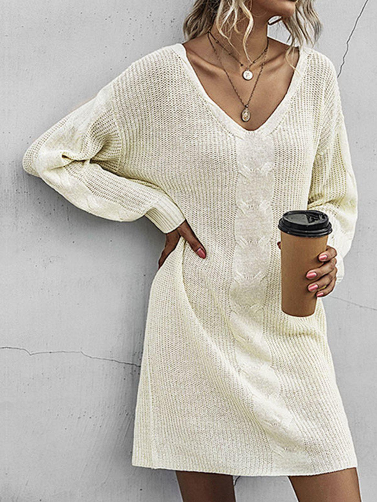 Cable Knit Shift Sweater Dress - LIGHT YELLOW S