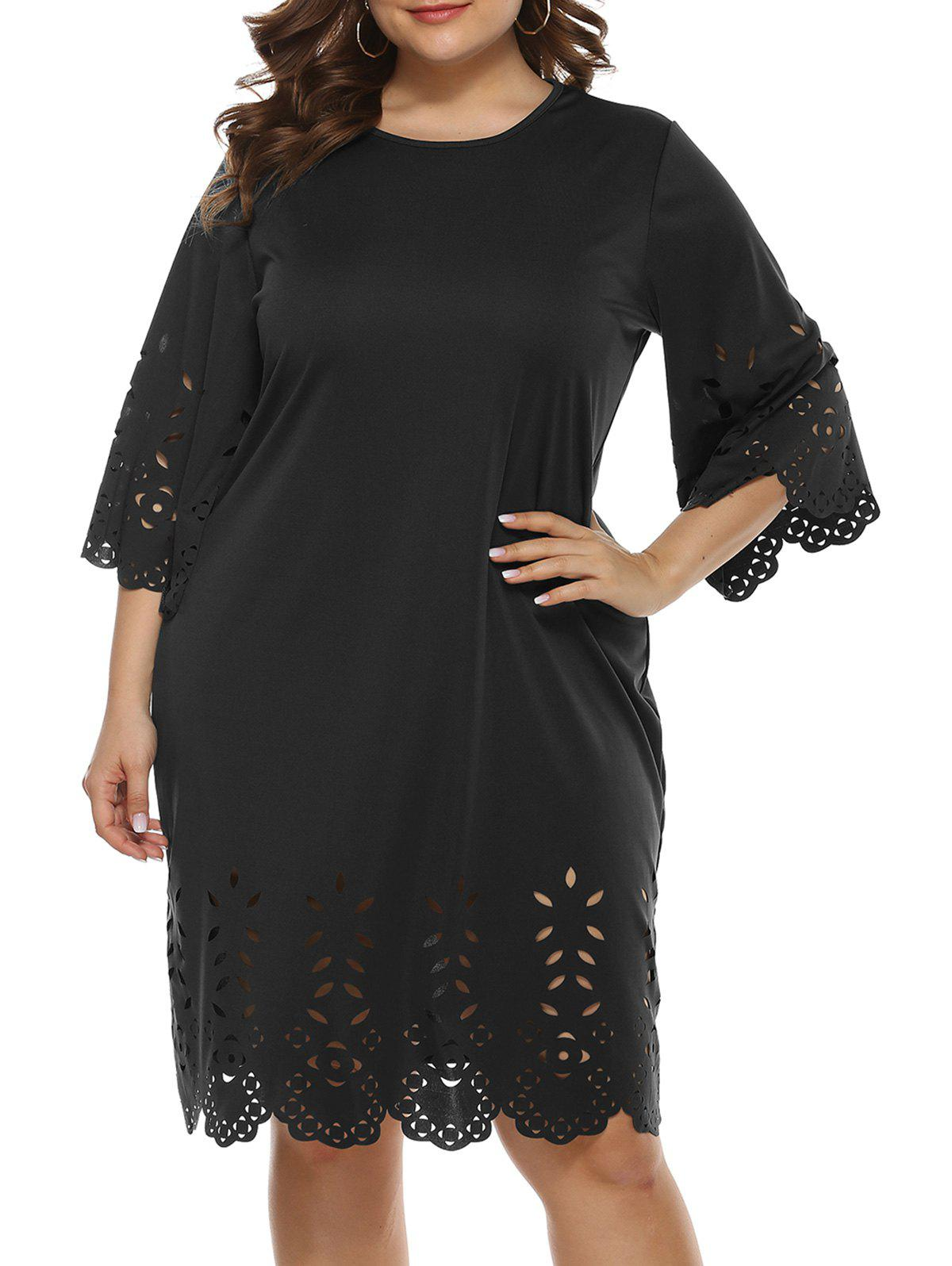 Plus Size Laser Cut Straight Dress - BLACK 3XL