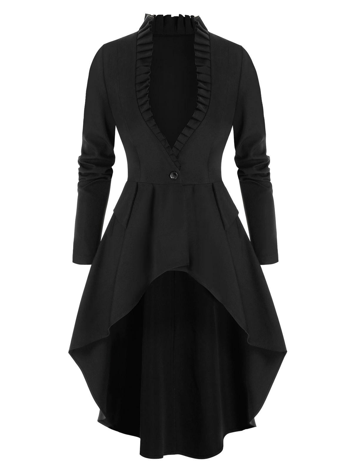 One Button Lace-up Ruffle Skirted Coat - BLACK 3XL