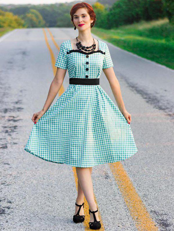 Frilled Buttoned Gingham 1950s Dress - GREEN S