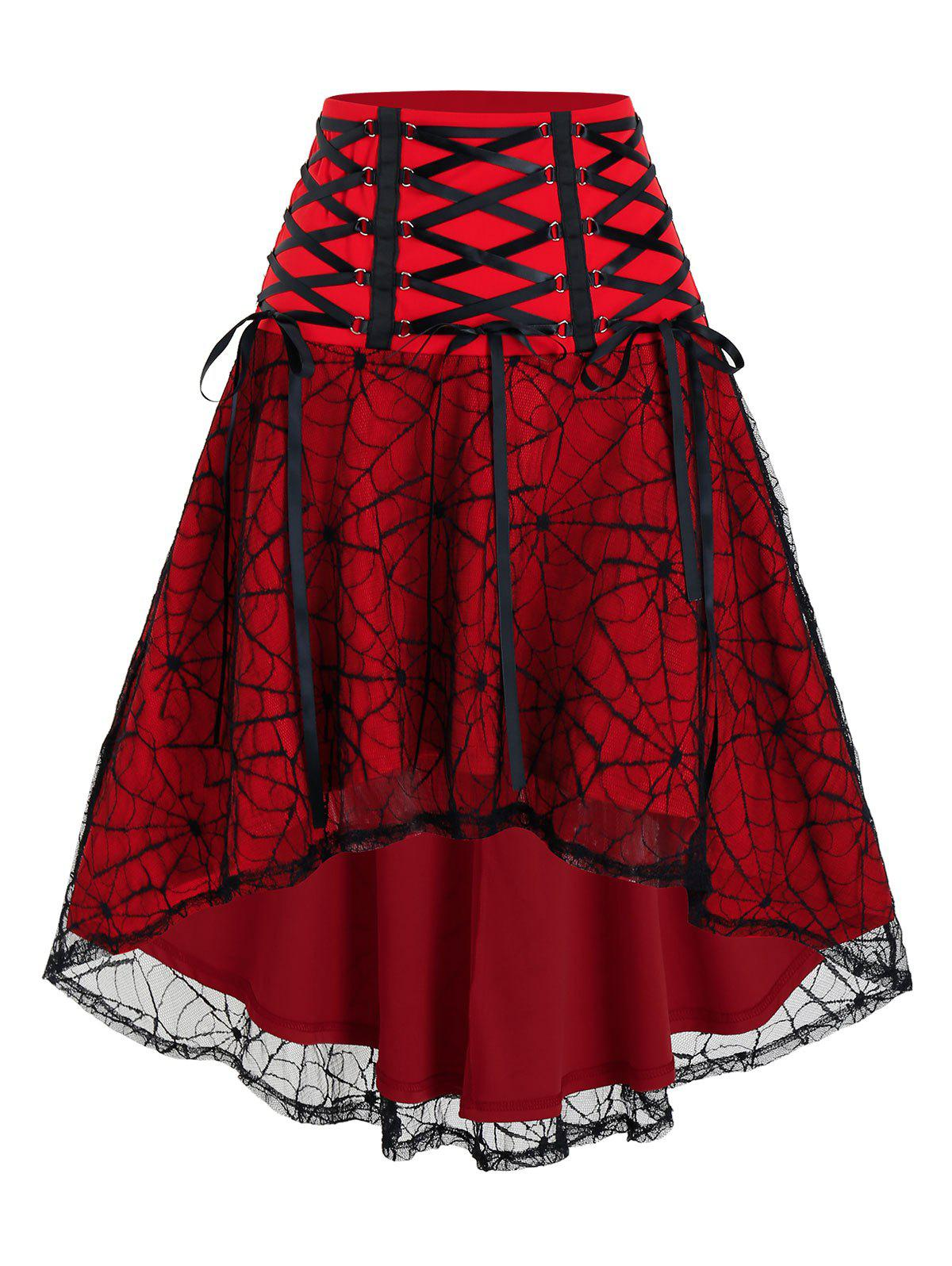 Halloween Spider Web Lace High Low Lace-up Skirt - BLOOD RED 2XL