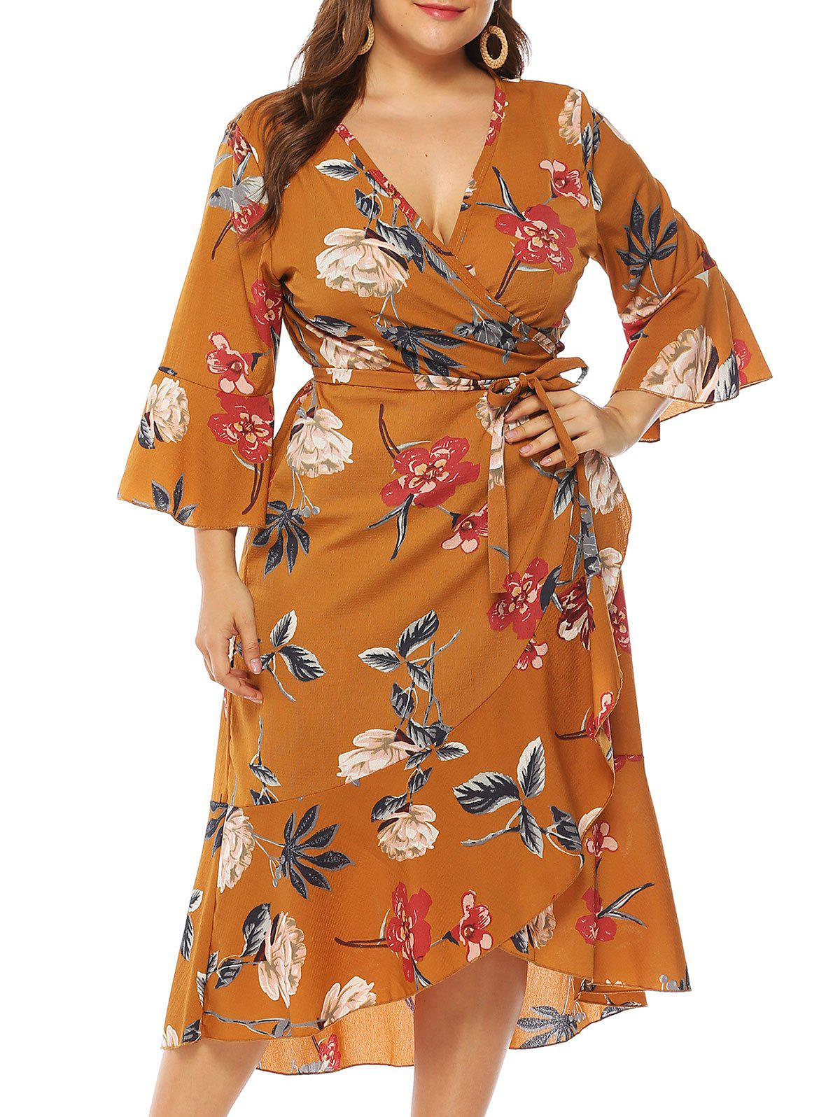 Plus Size Low Cut Floral Print Wrap Dress - DEEP YELLOW 3XL