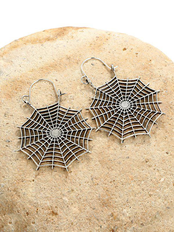 Halloween Spider Web Drop Earrings - SILVER